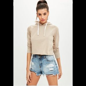 Missguided beige nude cropped washed hoodie top
